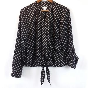 Chico's V-Neck Polka Dots Long Sleeve Tie-Waist